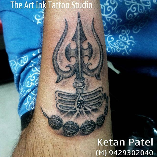 #trishul #rudraksha  #rudra #shiv #shiva #tattoo #tattooart #ahmedabad #india #theartinktattoo #awesome.