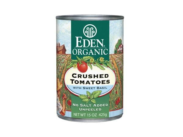 Tired of all the sodium in pasta sauce? Make your own, using these sweet Roma tomatoes with dried basil as a base. Add just the right amount of salt to Eden's sodium-free sauce. Bonus: they're packed in BPA-free cans.  Nutrition (1/4 cup): 20 calories, 1 g protein, 3 g carbs, 1 g fiber, 0 g fat, 0 g saturated fat, 0 mg sodium, 2 g sugar  Ingredients: Organic Roma tomatoes, organic dried basil