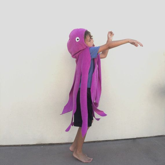 Purple Octopus Cape, Halloween Costume or Dress Up Cape for all ages