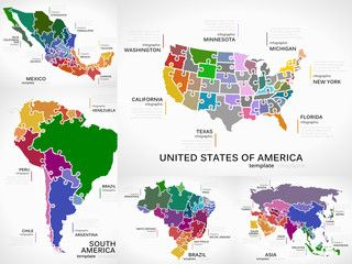 Maps infographic collection pack with America, Mexico, South America, Brazil and Asia puzzle illustrations