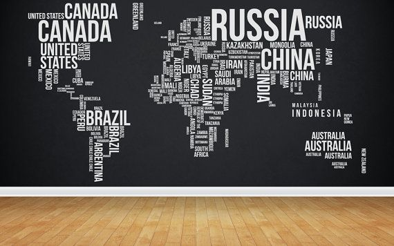 world map wall decal home office decor via Etsy