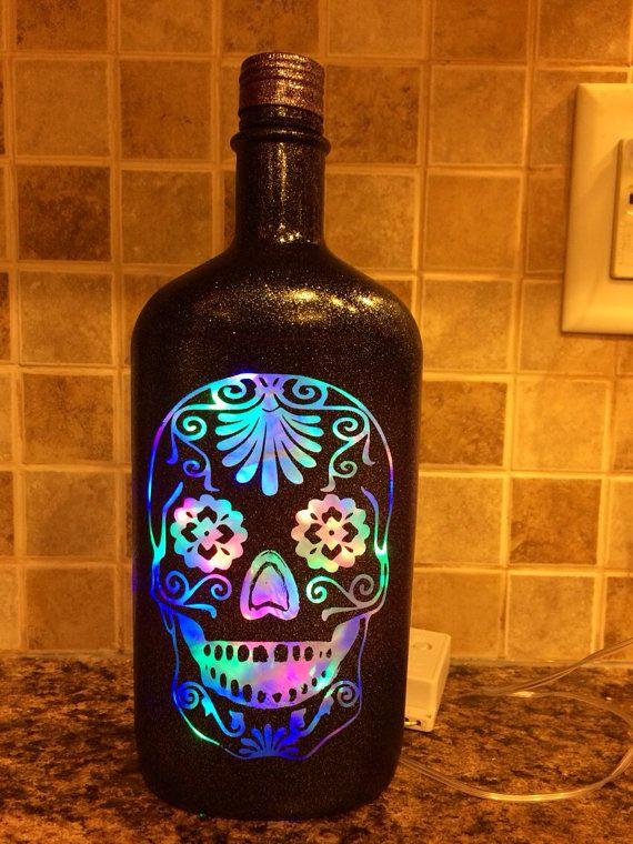 Sugar Skull color changing bottle lamp
