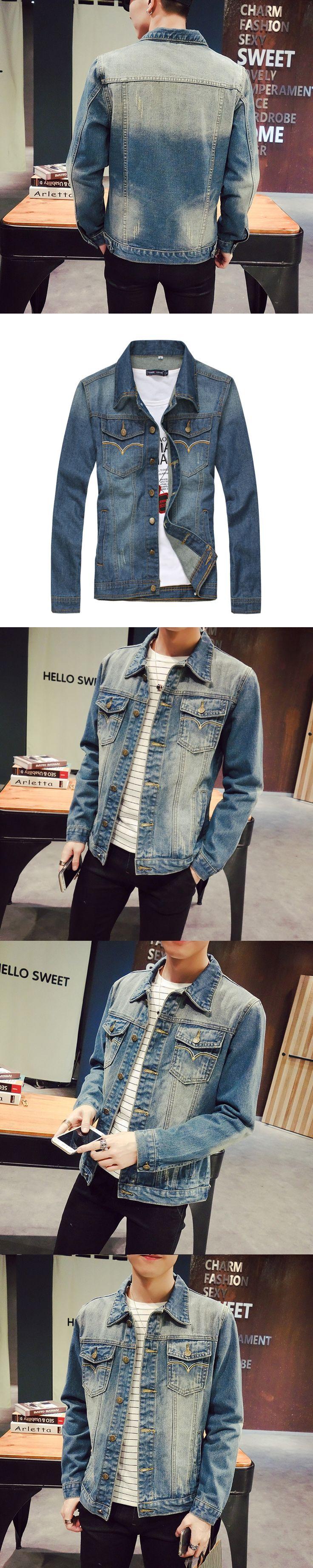 2017 New Man Cowboy bomber casual mens summer denim jean Jacket male Loose Coat chaqueta hombre Sportswear Enlarge Code M- 5XL