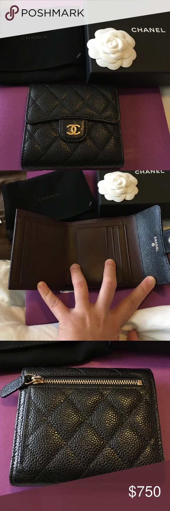 Chanel small wallet Purchased it in Oct 2016 and used just once. I decided to sell because I need a bigger wallet with more card slots. There is a small scratch on one corner but it is not really noticeable. This is authentic. No low ballers please. Negotiable. Talk to me:) CHANEL Bags Wallets