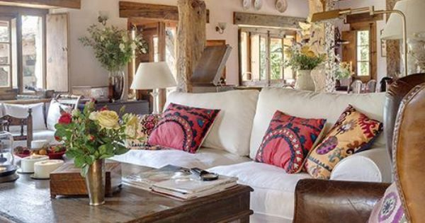Leather chairs, Neutral couch and Beams on Pinterest