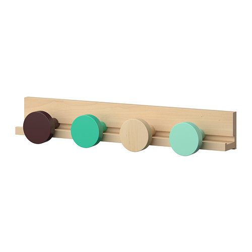 "IKEA - IKEA PS 2014, Wall rail with 4 knobs, 21 5/8"", Solid wood is a durable, natural material."