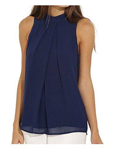 Ularmo Frauen Chiffonbluse Ärmelloses Shirt T-shirt Sommer Bluse Tops (S, Blau)