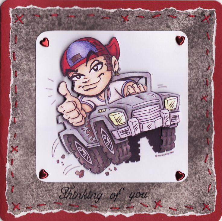 3D boy in jeep (by Tassie Scrapangel)
