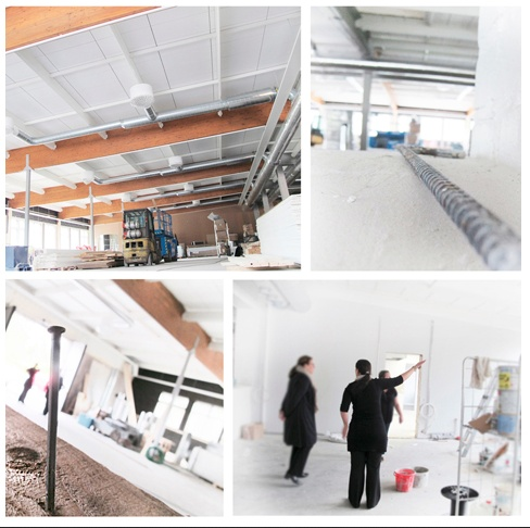 Transformation under way: from an  old factory into an art gallery. Konst & Form under construction in August 2012.