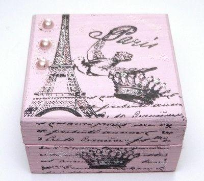 Pink Paris Eiffel Tower Keepsake Box