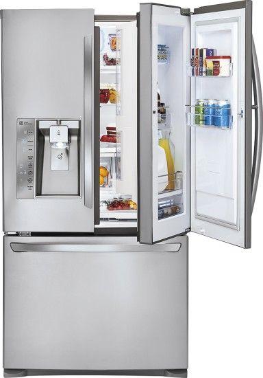 LG - Door-in-Door 28.5 Cu. Ft. French Door Refrigerator with Thru-the-Door Ice and Water - Stainless Steel - Front Zoom