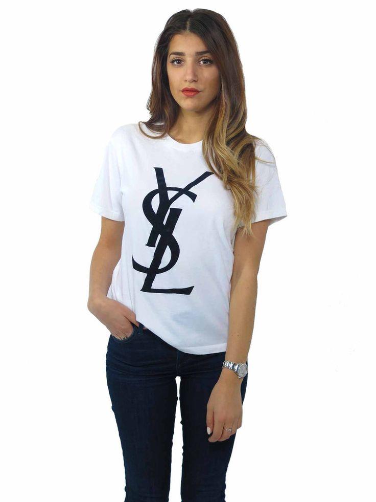 Yves Saint Laurent | Logo T-Shirt in white and black www.sabrinascloset.com