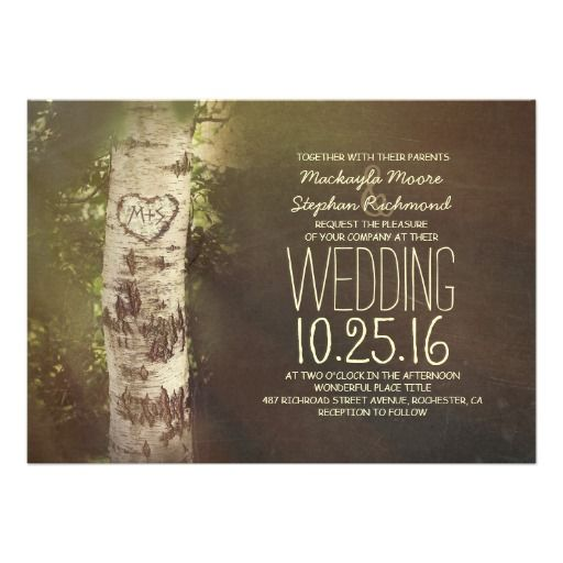 Rustic country birch tree wedding invitations with carved bark heart