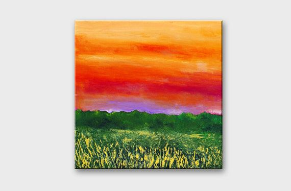 Original bright sunset orange green colors mountain landscape painting 10x10 inches size.    Evening painting is painted on mounted canvas with acrylic
