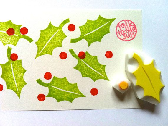 holly leaf rubber stamp - christmas stamp - hand carved rubber stamp - leaf - seed - set of 2