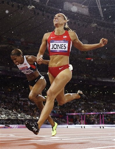 Lolo Jones finishes fourth during the women's 100m hurdles final.