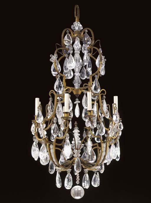 LOUIS XV STYLE ORMOLU, CUT-GLASS AND ROCK CRYSTAL EIGHT-LIGHT CHANDELIER, - 1547 Best Chandeliers Images On Pinterest Chandeliers, Crystal
