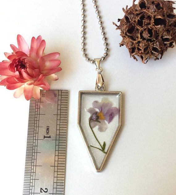 pressed flower pendant purple pressed flower necklace