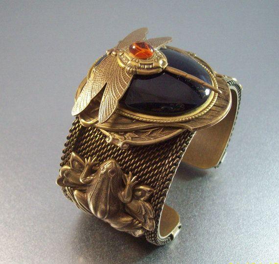 Vintage Joseff Dragonfly Frog Cuff Bracelet by LynnHislopJewels