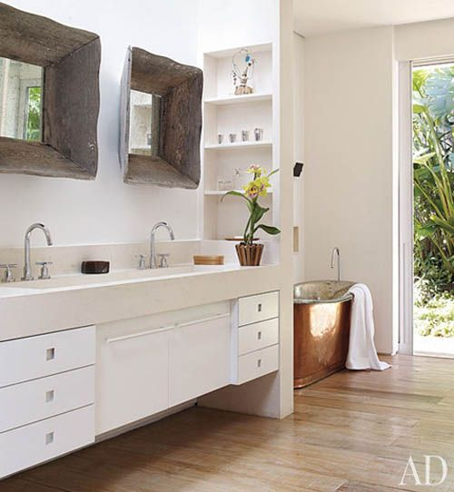 rustic mirrors and copper tub