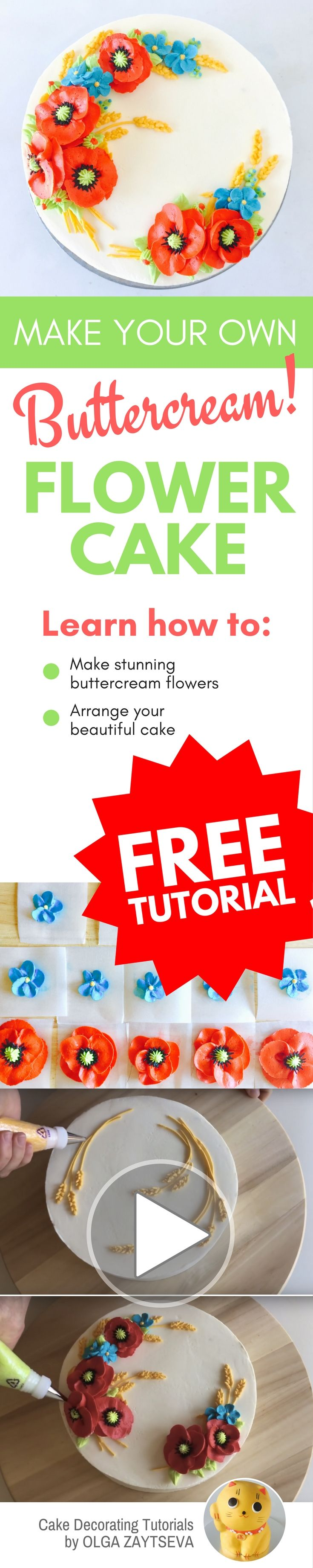 How to make Red Poppy Buttercream flower cake - Cake decorating tutorial by Olga Zaytseva. Learn how to make buttercream poppies, pipe cornflowers and wheat spikelets, and create this floral wreath cake. #cakedecorating #cakedecoratingtutorial #buttercreamflowercake #buttercreamflowers