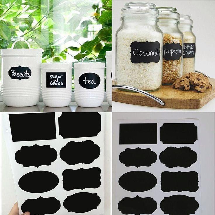 Adesivos de quadro negro para potes de cozinha. . #DIY coloque papel contact…