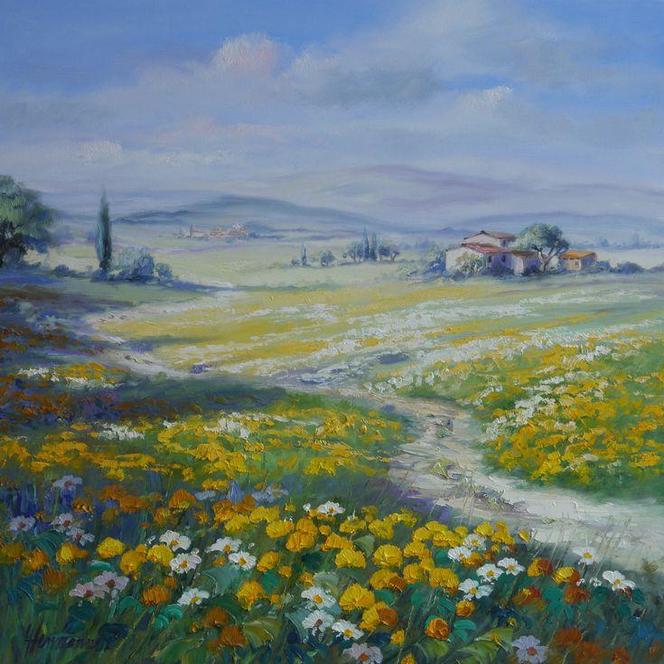 Blumenwiese mit Margeriten und Löwenzahn - der weite Blick in die Landschaft läßt das Auge schweifen | Original Gemälde von Ute Herrmann