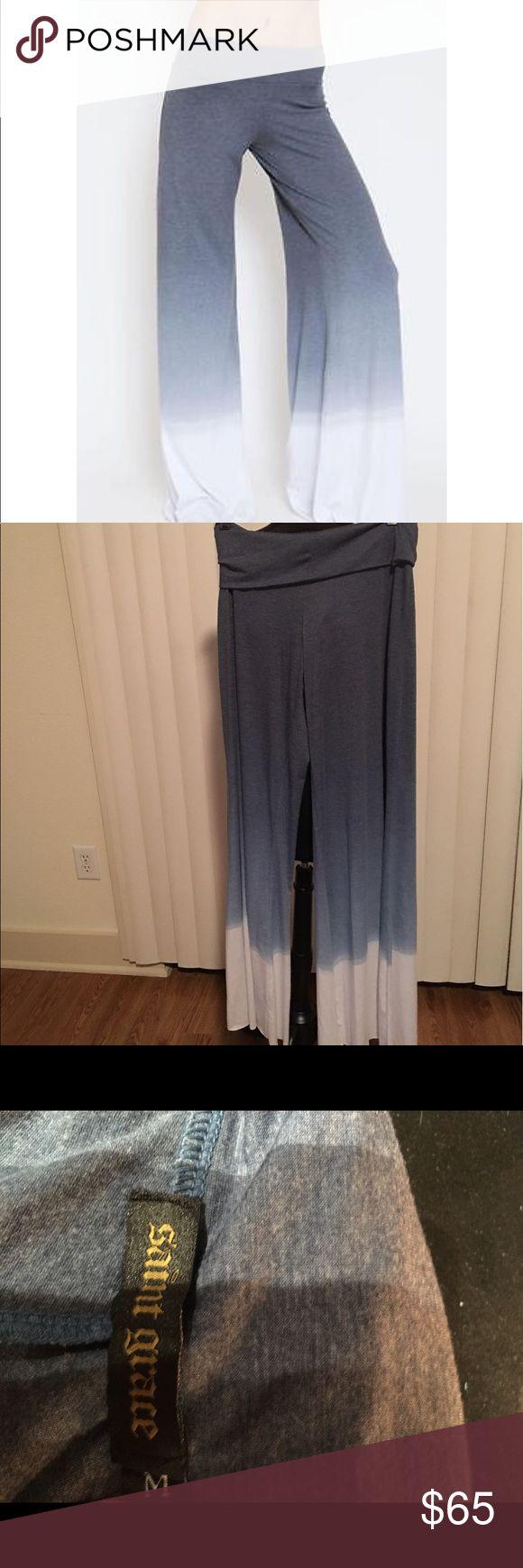 Saint Grace Carol Wide Leg Pant Ombré Medium Never worn, super comfy Saint Grace Wide Leg Pant! Blue/ white ombré, raw bottom hem. 62% polyester, 32% rayon, 6% Lycra with fold over waist. Saint Grace Pants Wide Leg