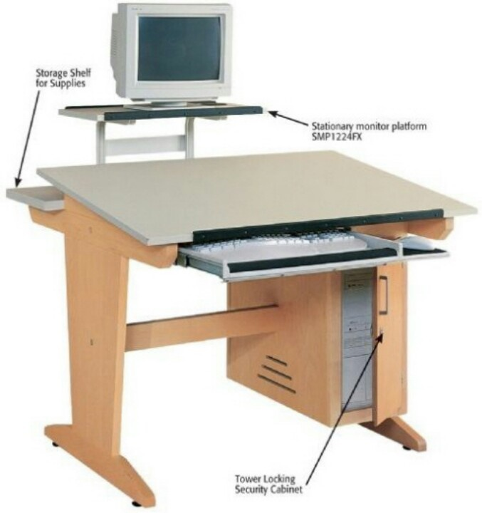 Drafting Table With Monitor And Computer Tray