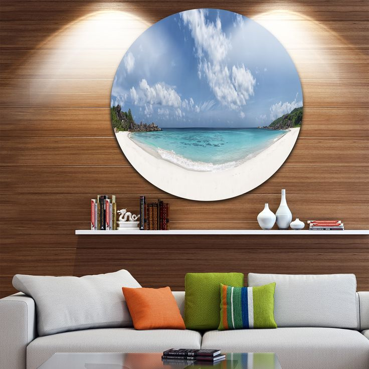 Designart 'Majestic Seychelles Beach Panorama' Seascape Disc Metal Wall art