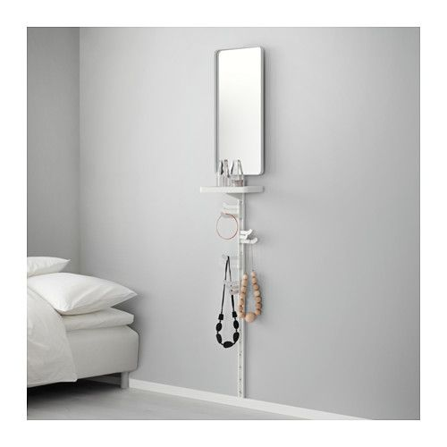IKEA - ALGOT, Wall upright, mirror & triple hook, The parts in the ALGOT series can be combined in many different ways and easily adapted to your needs and space.Can also be used in bathrooms and other damp indoor areas.You click the brackets into the ALGOT wall uprights wherever you want to have a shelf or accessory – no tools needed.