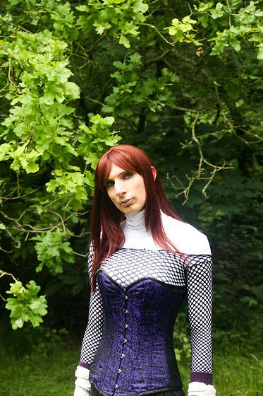 Get this look: http://lb.nu/look/8443753  More looks by Sofia Andromeda: http://lb.nu/sofiaandromeda  Items in this look:  Body Net Black, Oroblu Body Turtle Neck White, Corset Story Blue Brocade Long Lined Corset, Arm Warmers Purple, Arm Warmers Warm White   #purple #corset