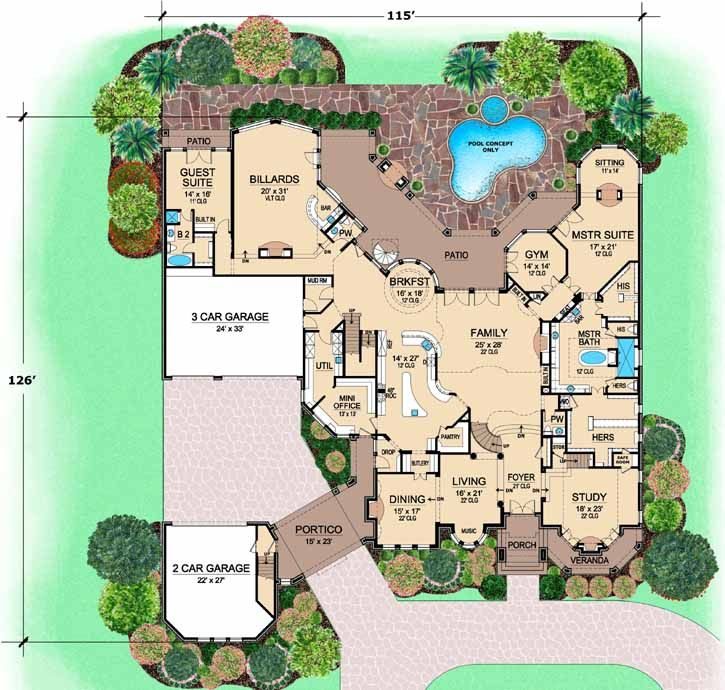 Luxury Style House Plans   12268 Square Foot Home, 3 Story, 5 Bedroom And
