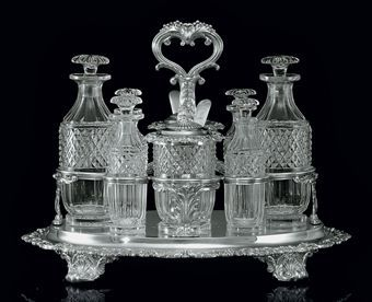 George IV Silver And Glass Cruet Stand With Mark Of Paul Storr, London   c.1820