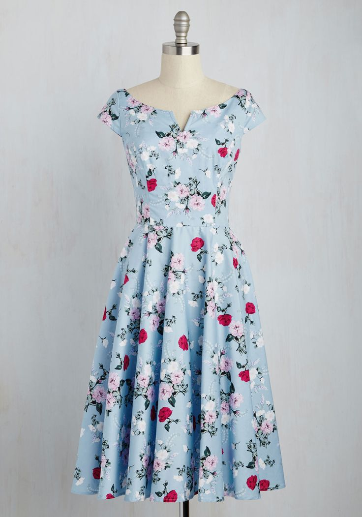 Sculpture Garden Gala Dress - Blue, Multi, Floral, Print, Daytime Party, Vintage Inspired, 50s, Pastel, A-line, Short Sleeves, Spring, Woven, Best, Cotton, Long
