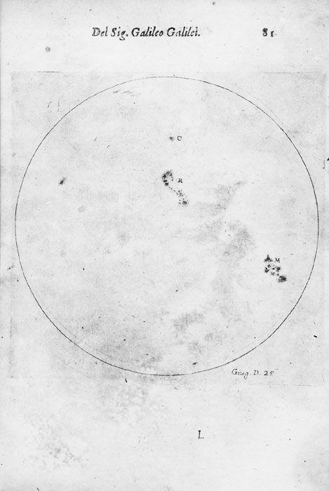 Les observations de Galilé, Taches solaires 1610 (Bib. Observatoire de Paris)