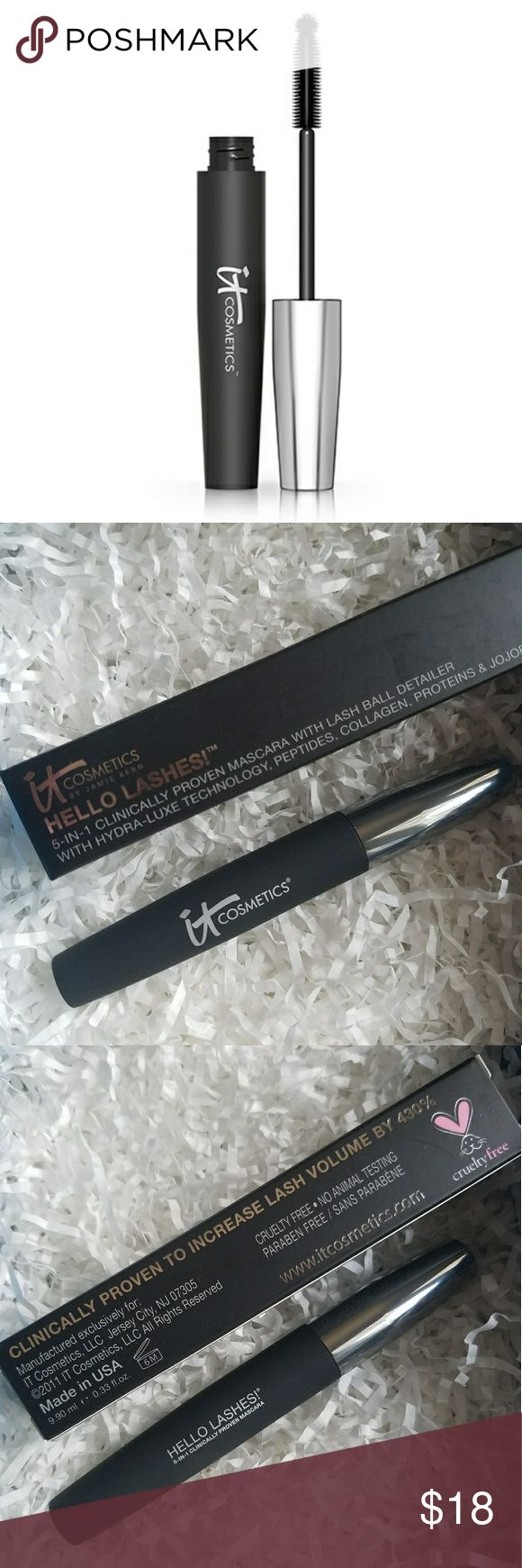 it Cosmetics Hello Lashes Mascara! BNIB / GUARANTEED AUTHENTIC FULL SZ / FREE SHIPPING  CURRENTLY SOLD OUT ONLINE  #1 best-selling, award-winning mascara! Lash-loving biotin, collagen, proteins, jojoba, saw palmetto and amino acids  Delivers 5 products, all in one: Volumizing mascara Conditioning primer Peptide-infused lash serum Lash tint Lash comb/curler  Quadruples the look of your lashes!  Increases lash volume by 430%!  Other it Cosmetic products avail!   Bundle and Save  Please chk out…