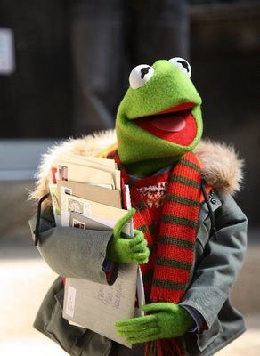 Kermit posting his Christmas cards