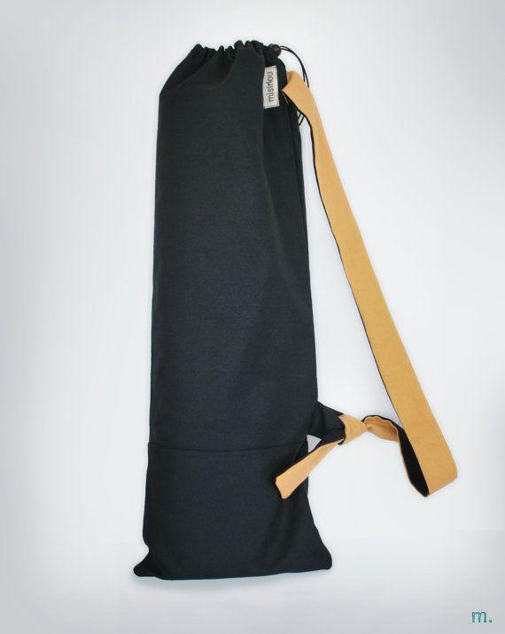 3444506f80f6 Unisex jóga matás zsák Pilates mat zsák Vízálló Fekete sárga Yoga Mat Bag