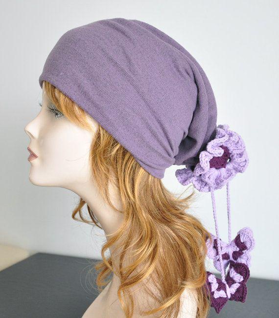 Jersey Hat wz Crochet Flowers and Butterflies