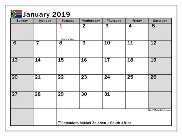 January 2019 Calendar South Africa Calendar Printables June