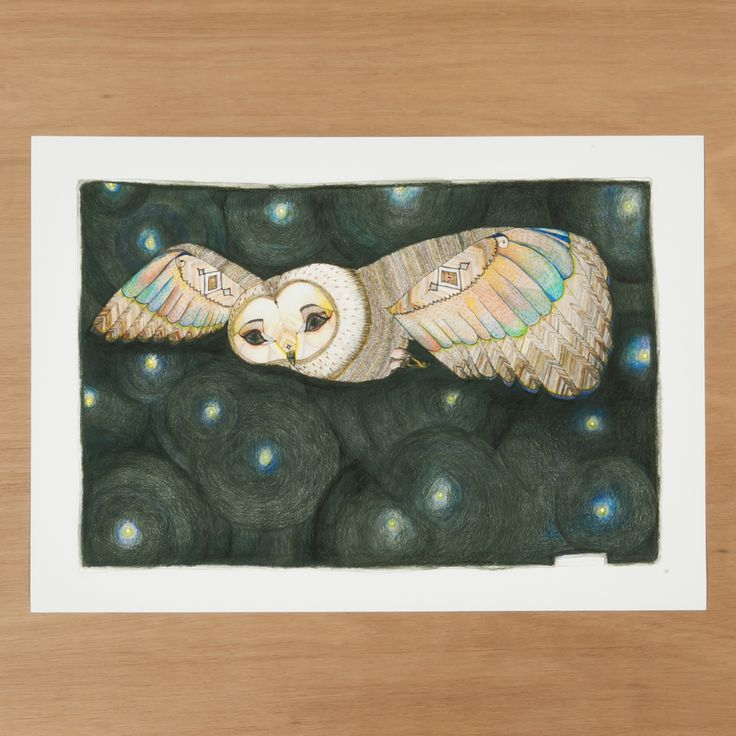 """""""Night Owl"""" by Natalie Martin, 2012.Limited edition of 100. Giclee print of an original ink, coloured pencil and watercolour illustration."""