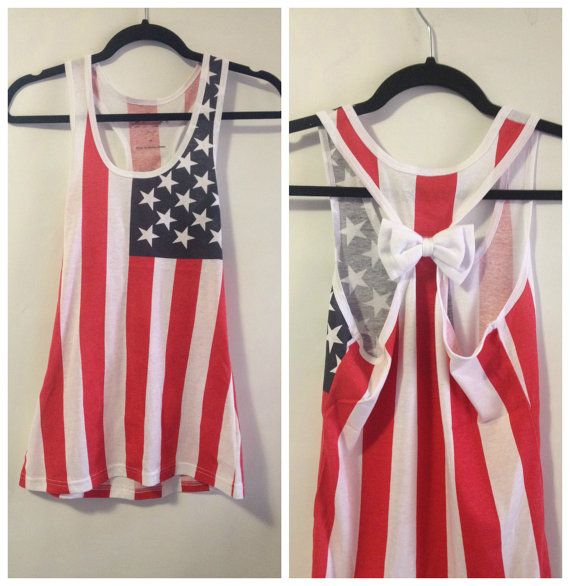 American Flag Bow Tank Top Bow Tank Top by GlamUpFitnessApparel, $24.95