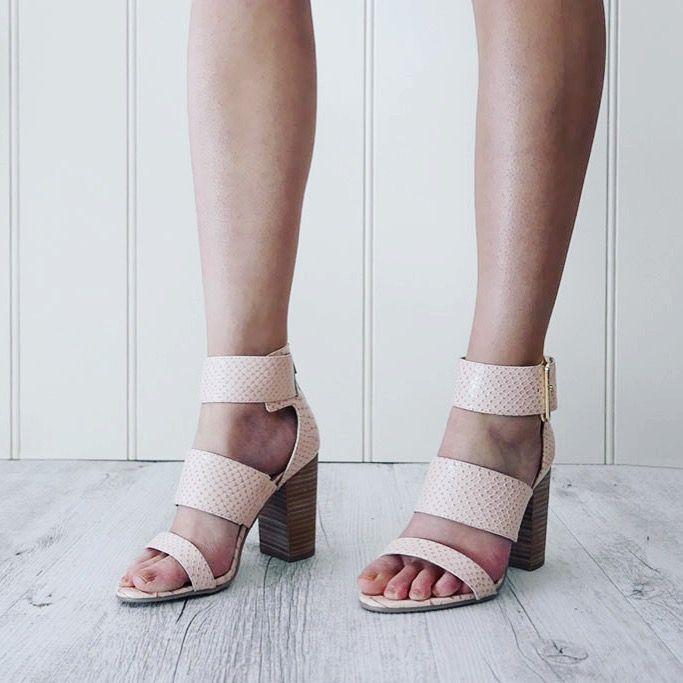 TIBBY // blush snake print heels