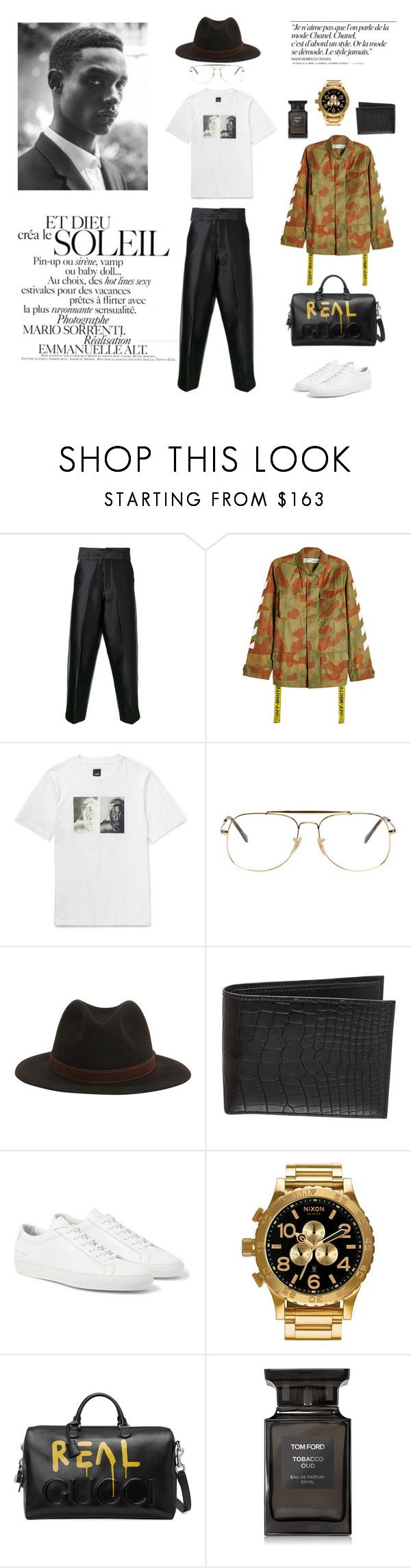 """Downtown"" by maariavld on Polyvore featuring Private Policy, Off-White, Ray-Ban, Borsalino, Hermès, Nixon, Gucci, Tom Ford, Chanel and men's fashion"