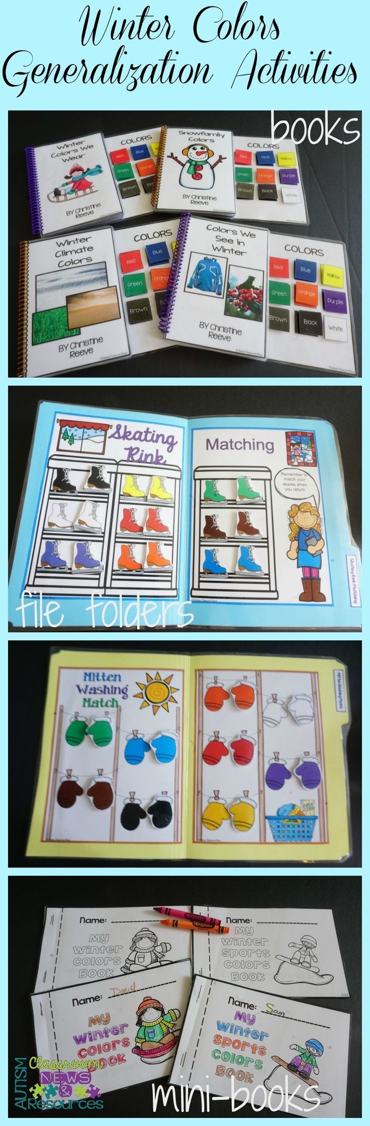 This huge set includes interactive books, file folder matching, mini color books, find the color sheets, and cookie sheet activities all designed to practice 9 colors.  These area great for discrete trial programs for children with autism and early childhood. $