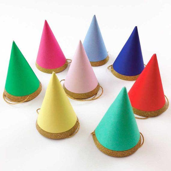 Mini Party Hats, 8 Meri Meri Happy Birthday Hats, Toot Sweet Rainbow & Gold Glitter Cone Hats