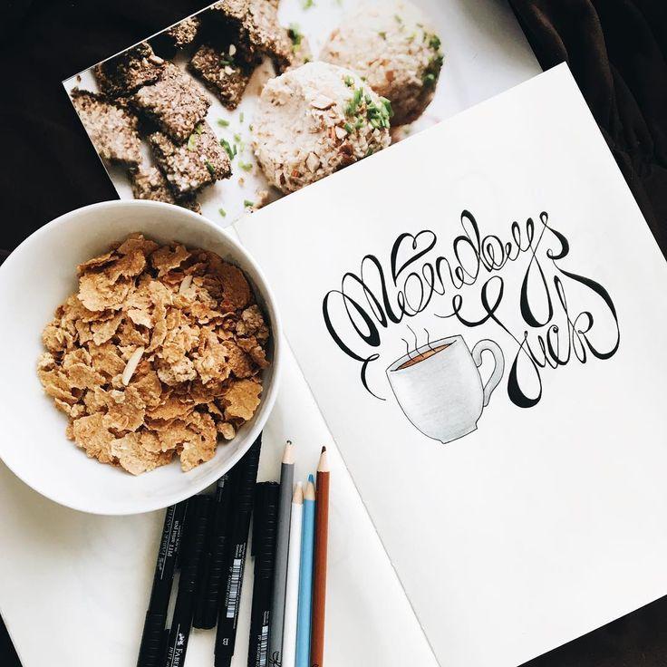 Who's with me? ☕️🙃 Привет, инстамир ✌🏼️😘 Кто любит понедельники? 😬 #MondaysSuck #IllustrationArtists #LetteringDesign #trvlblog