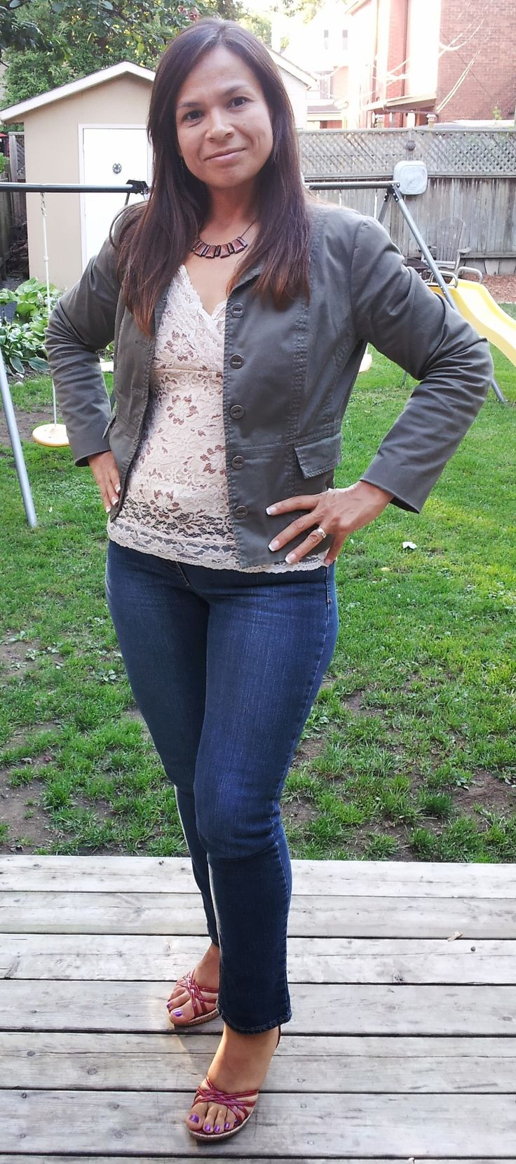 "My ""back to work"" fall outfit. Jacket $8.99, top $3.50, shoes $5. All #valuevillage. Jeans, necklace and earrings purchased with #Reitmans gift card so they were free for me! #frugalfashion"
