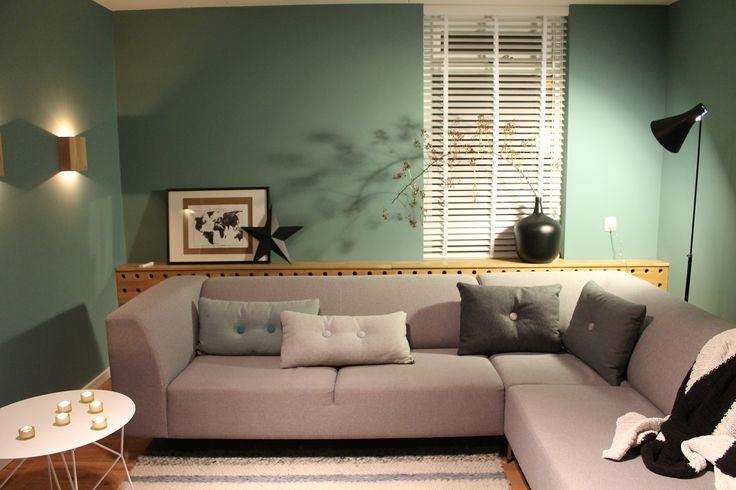 Eigen Huis en Tuin   Praxis. Een licht groen/blauwe muur met grijze bank. Laat de kleur van de muur terugkomen in de kussens.